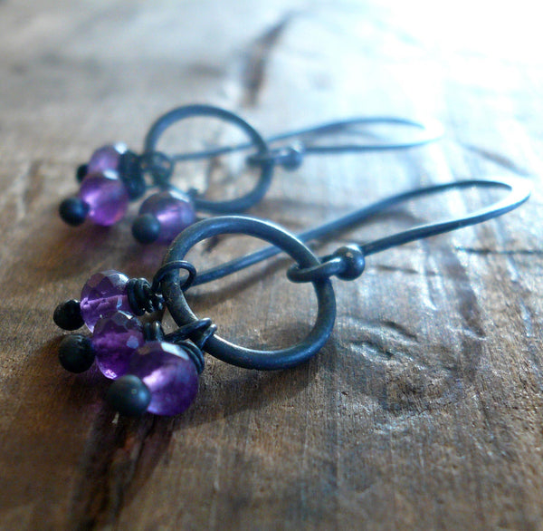 February Flurry Earrings - Handmade. Amethyst. Sterling and Fine Silver Dangle Earrings