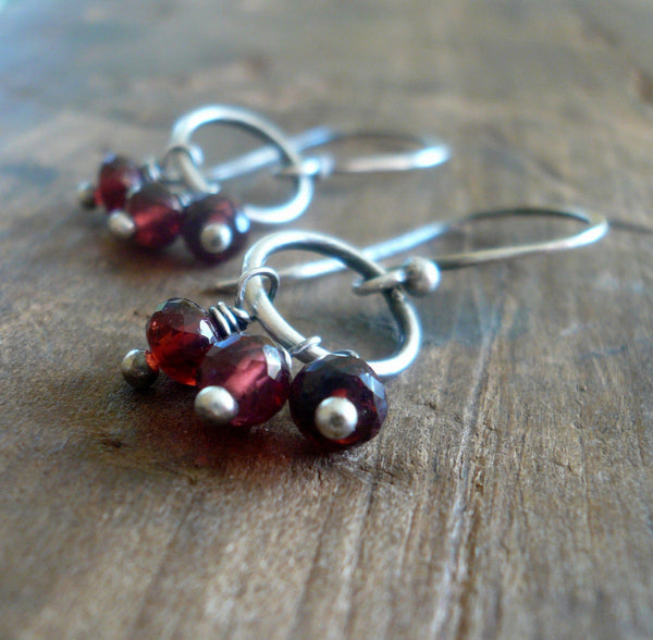 January Flurry Earrings - Handmade. Garnet. Sterling and Fine Silver Dangle Earrings