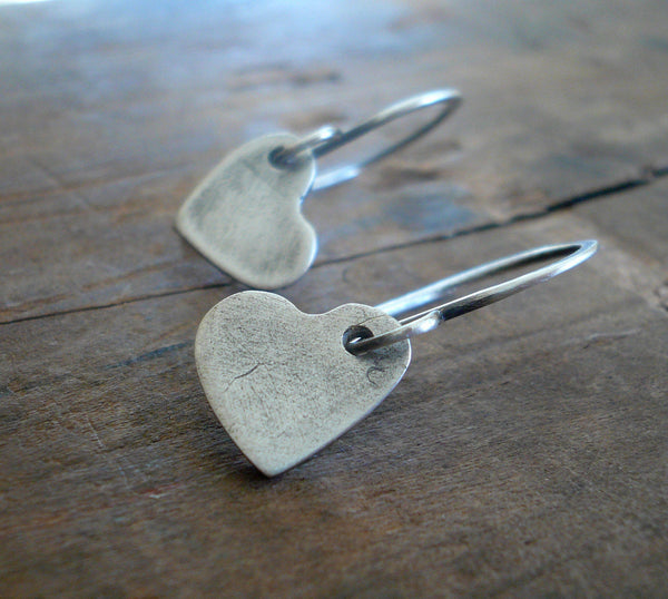 Amore Earrings - Handmade. Oxidized Fine and sterling silver dangle earrings