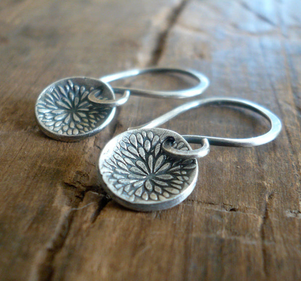 Bloom Earrings - Handmade. Oxidized fine and sterling silver dangle earrings