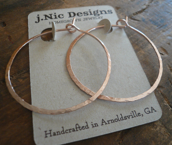 Mangly Hoops in Rose Gold - Choice of 6 sizes. Handmade. Hammered. 14k Rose goldfill hoops