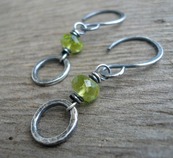 Kalediscope Earrings - Handmade with semiprecious gemstones, Oxidized, Hammered Sterling Silver