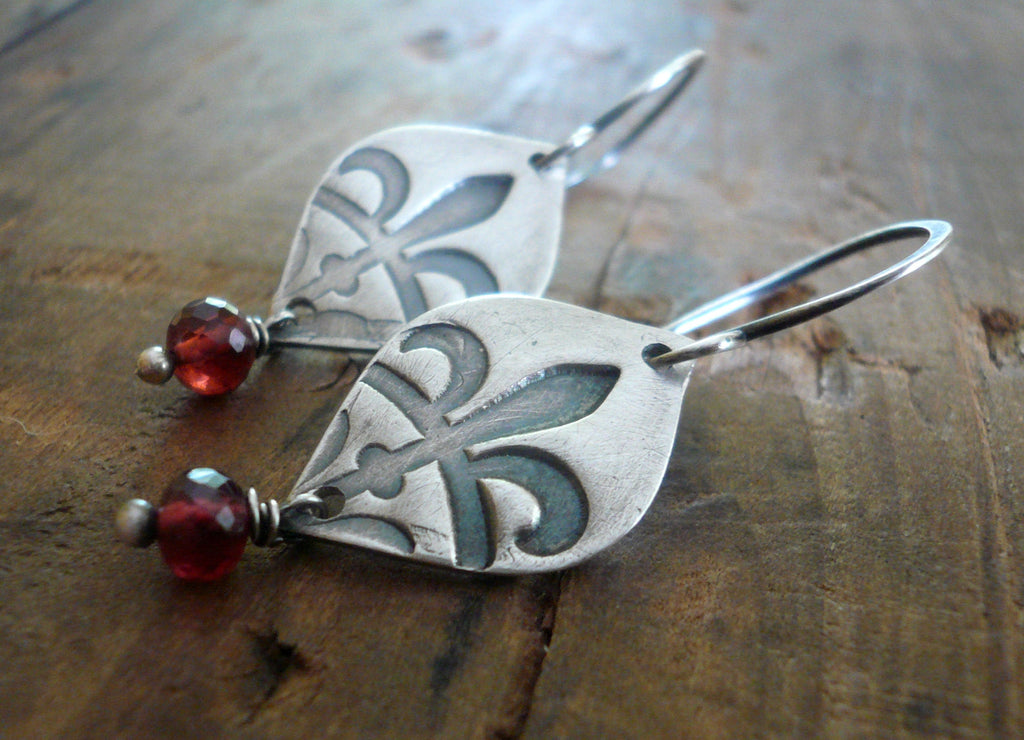 Creole Collection Birthstone Earrings- Choice of Gemstones. Oxidized Sterling and Fine Silver Dangle Earrings. Garnet.