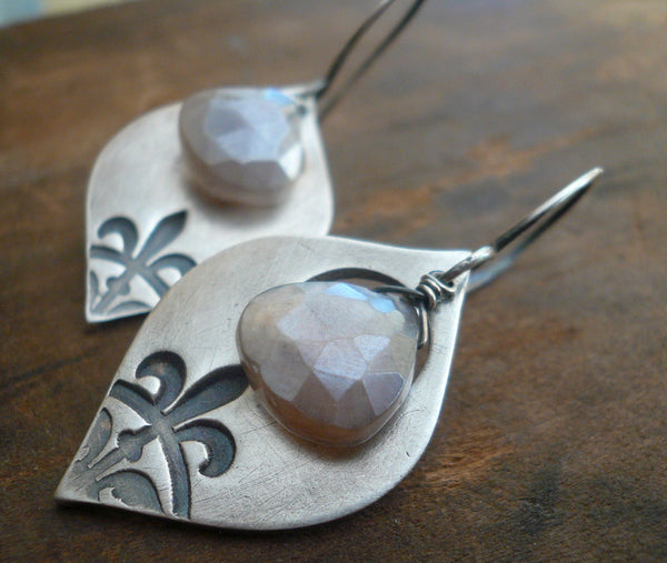 Creole Collection Drop Earrings- Champagne Moonstone. Oxidized Sterling and Fine Silver Dangle Earrings. Handmade.