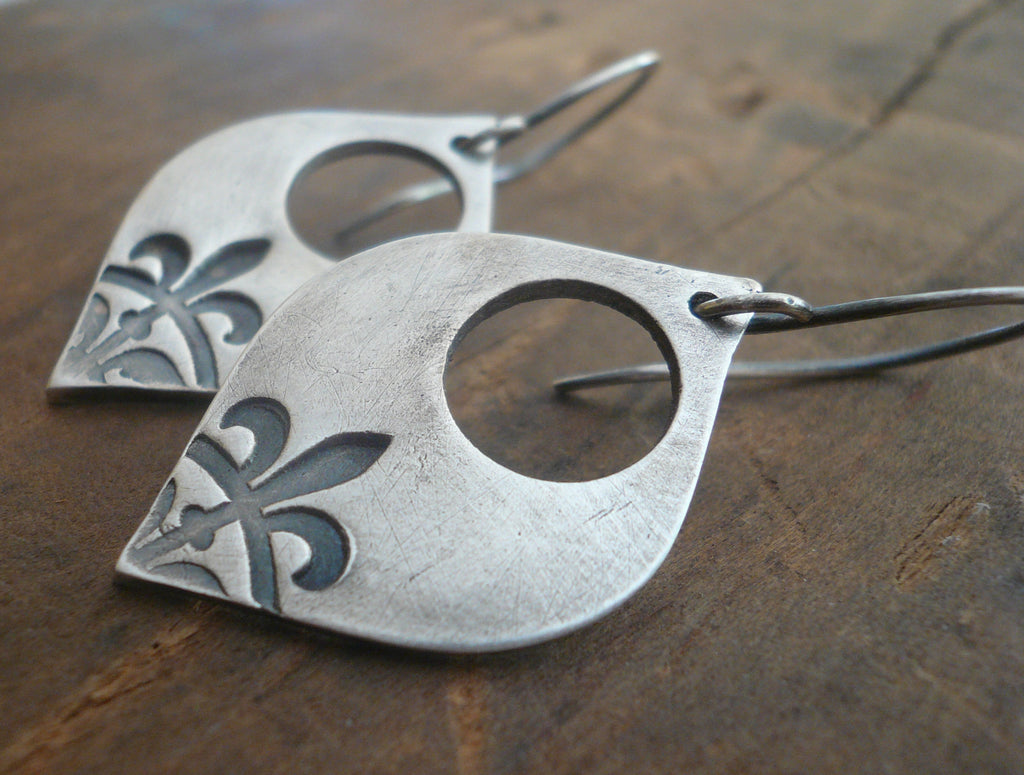 Creole Collection Earrings- Oxidized Sterling and Fine Silver Dangle Earrings. Handmade.