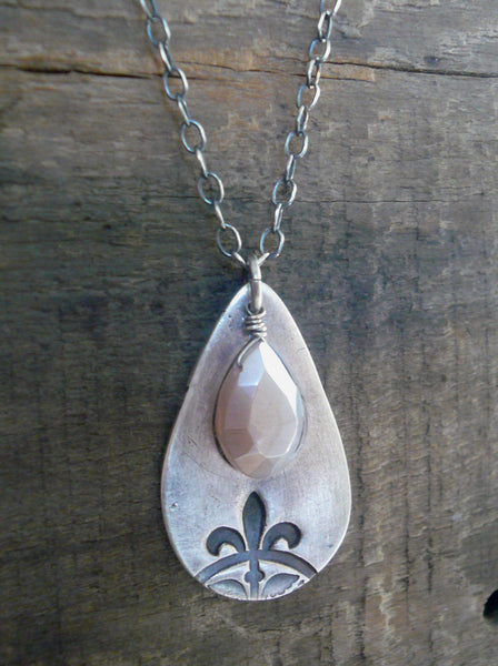 Creole Collection Necklace - Handmade. Champagne Moonstone. Oxidized Fine and Sterling Silver