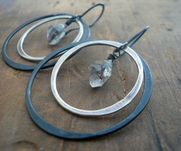 Outskirt Earrings - Handmade. Heavily Oxidized/ Black sterling silver Herkimer Diamond dangle earrings