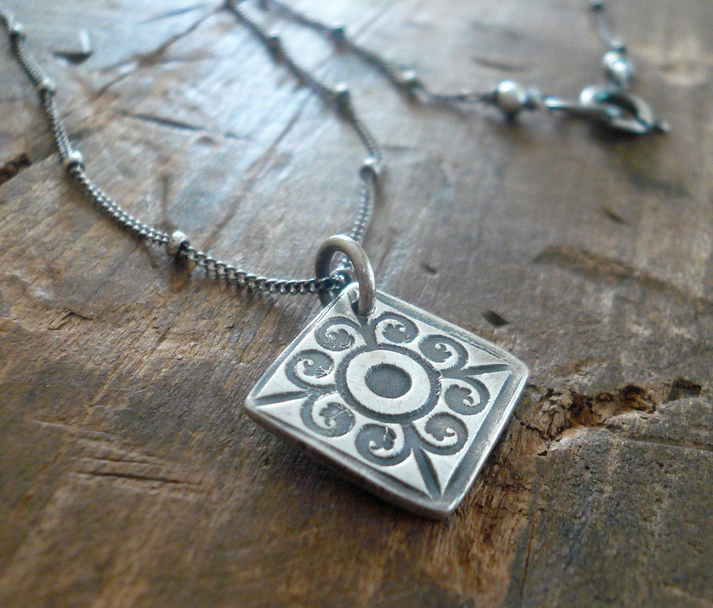 French Quarter Necklace -Diamond - Oxidized fine and Sterling Silver or 14kt Goldfill. Handmade