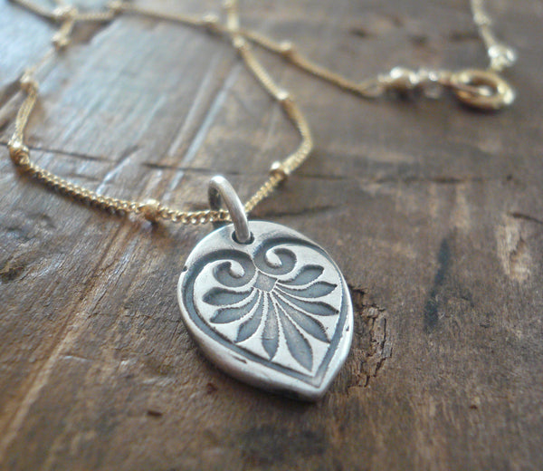 French Quarter Necklace -Leaf - Oxidized fine silver and 14kt Goldfill or sterling silver chain. Handmade
