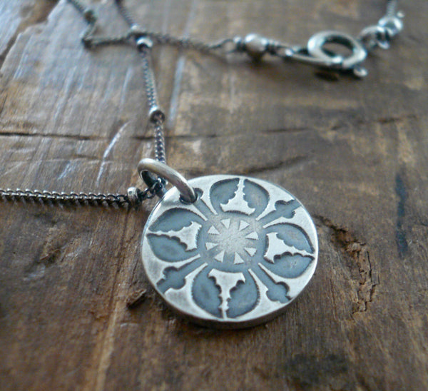 French Quarter Necklace -Round - Oxidized fine and Sterling Silver or 14kt Goldfill. Handmade