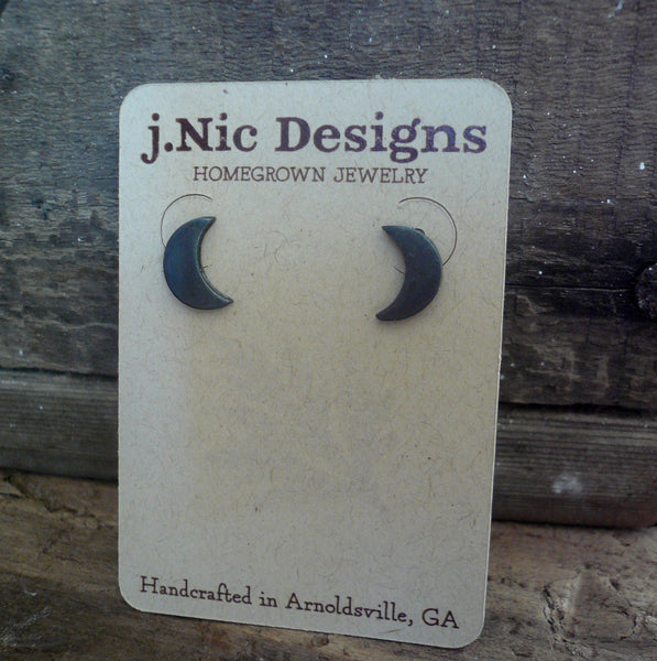 Luna Stud Earrings- Oxidized Sterling and Fine Silver Post Earrings. Handmade.