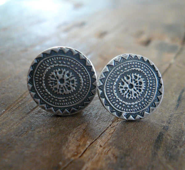 Medallion Style 2 Stud Earrings- Oxidized Sterling and Fine Silver Post Earrings. Handmade.