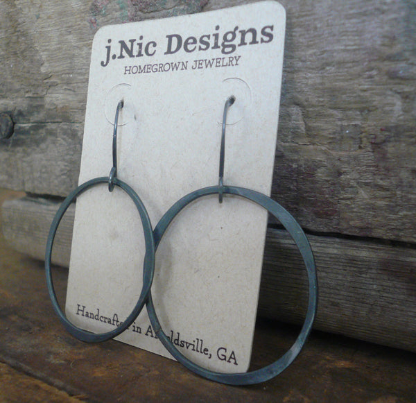 Lagom Earrings Large - Handmade. Heavily Oxidized/ Black sterling silver dangle earrings