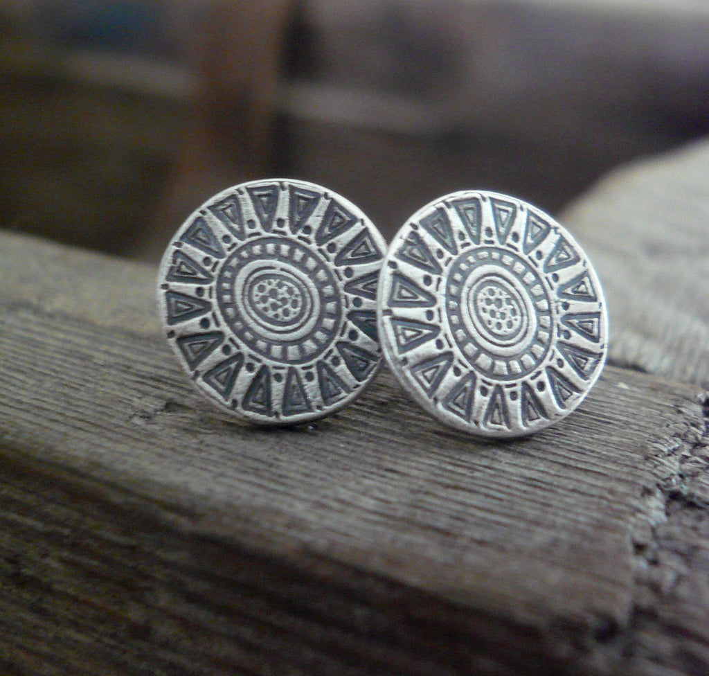 Medallion Style 1 Stud Earrings- Oxidized Sterling and Fine Silver Post Earrings. Handmade.