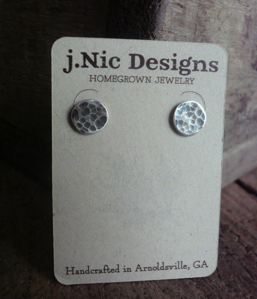 Tidepool Ripple Stud Earrings- Oxidized Sterling and Fine Silver Post Earrings. Hammered. Handmade.