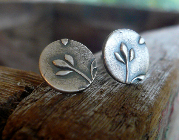 Botanical Stud Earrings- Bud - Oxidized Sterling and Fine Silver Post Earrings. Handmade.