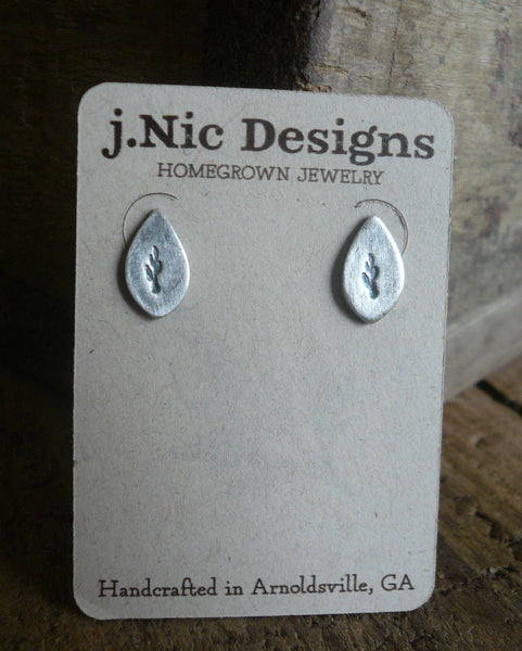 Botanical Stud Earrings- Leaves - Oxidized Sterling and Fine Silver Post Earrings. Handmad