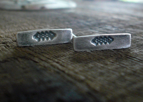 Argyle Stud Earrings- Oxidized Sterling and Fine Silver Post Earrings. Handma