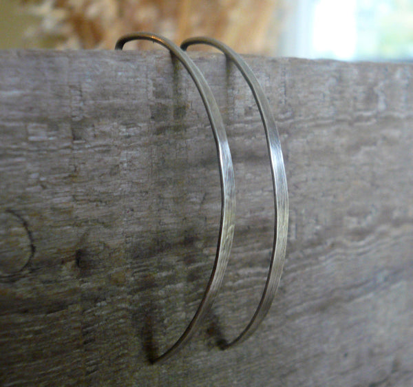 DAILY DEAL Allure Open Hoops in Silver - Size Large. Oxidized/polished finish. Handmade in Sterling Silve