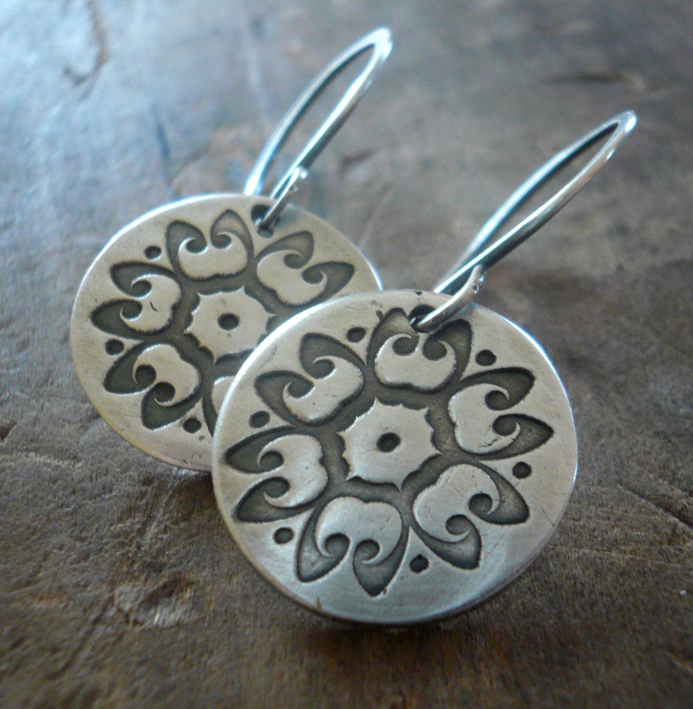 Medallion Earrings Large Style I - Handmade. Oxidized fine and sterling silver