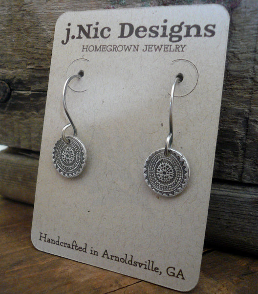 Medallion Earrings Small Style II - Handmade. Oxidized fine and sterling silver