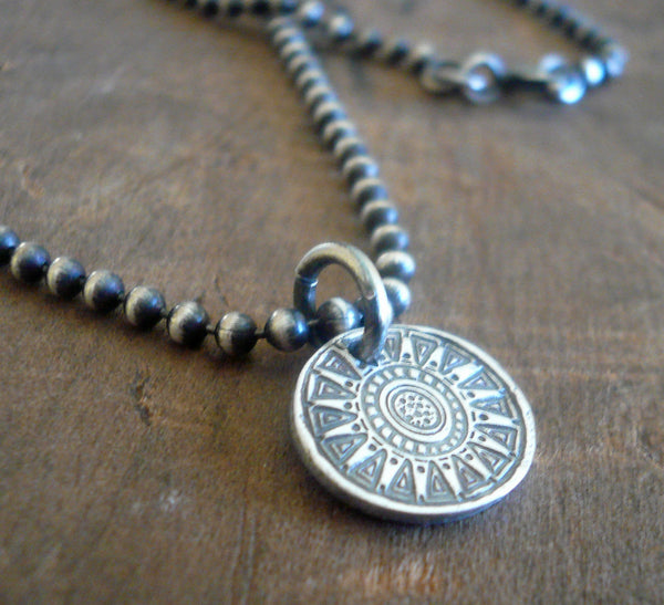 Medallion Small Style I Necklace  - Oxidized fine and Sterling Silver. Handmade