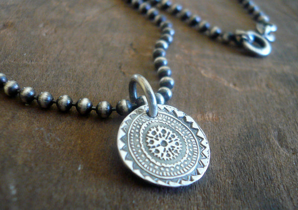 Medallion Small Style II Necklace  - Oxidized fine and Sterling Silver. Handmade