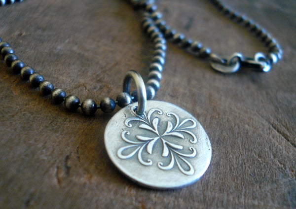 Medallion Medium Style I Necklace  - Oxidized fine and Sterling Silver. Handmade