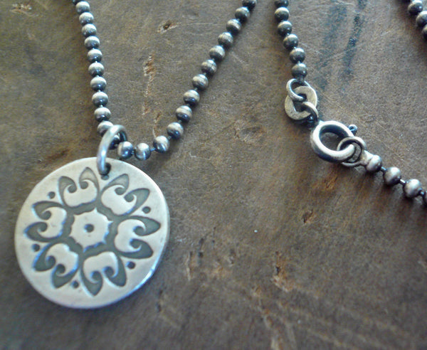 Medallion Large Style I Necklace  - Oxidized fine and Sterling Silver. Handmade