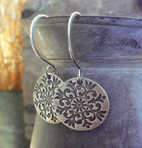 Medallion Earrings Large Style II - Handmade. Oxidized fine and sterling silver