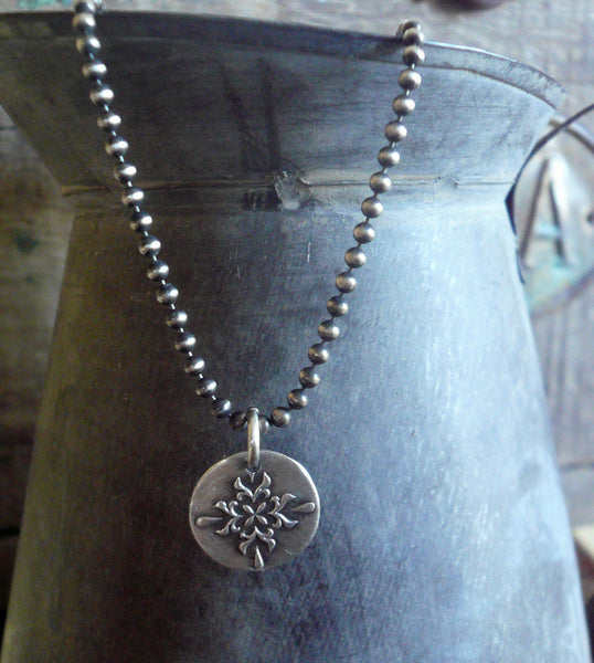 Medallion Medium Style II Necklace  - Oxidized fine and Sterling Silver. Handmade