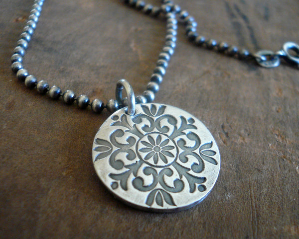 Medallion Large Style II Necklace  - Oxidized fine and Sterling Silver. Handmade