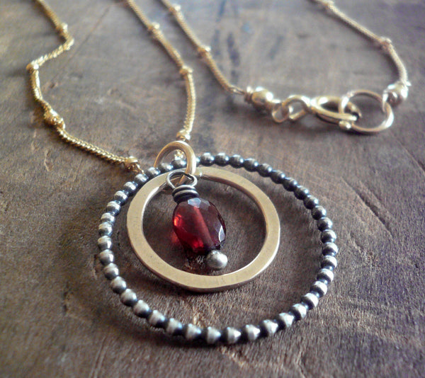 Rouge Collection Necklace - Garnet. Oxidized sterling silver and 14kt Goldfill. Handmade