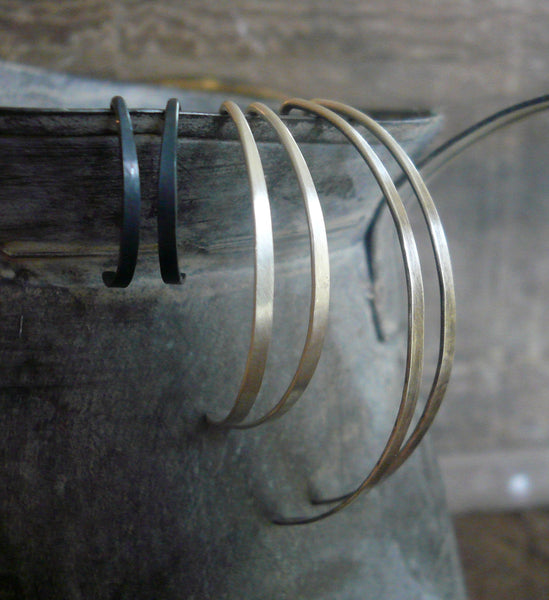 Allure Open Hoops in Silver - Handmade in Sterling Silver. Choice of 3 sizes & 4 finishes. One Pair.