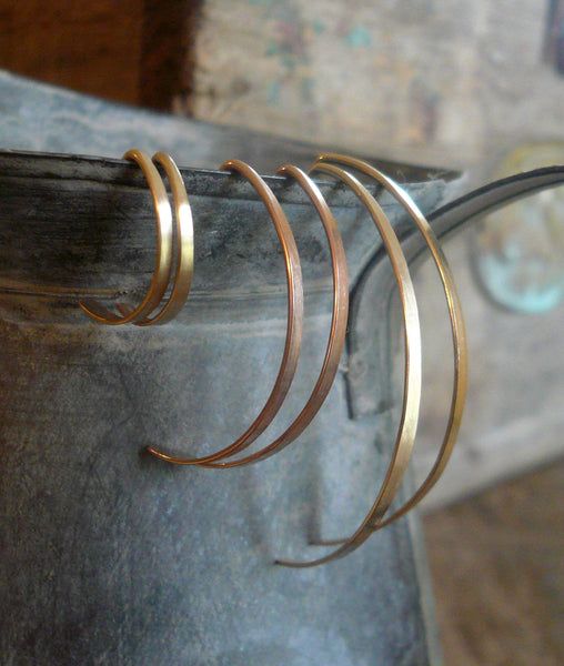 Allure Open Hoops in Gold - Handmade in 14kt Yellow or Rose Goldfill. Choice of 3 sizes. One Pair.