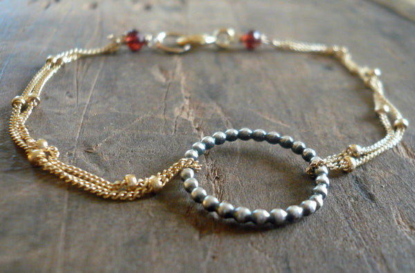 Rouge Collection Bracelet- Oxidized sterling silver. 14kt Goldfill. Mixed Metals. Garnet. Handmade