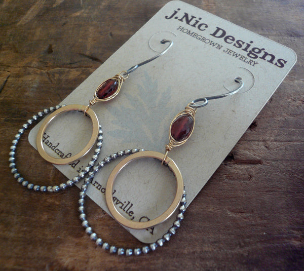 Rouge Collection Wrap Earrings - Handmade. Garnet. Mixed Metals. Oxidized Sterling silver & 14 kt Goldfill dangle birthstone Earrings