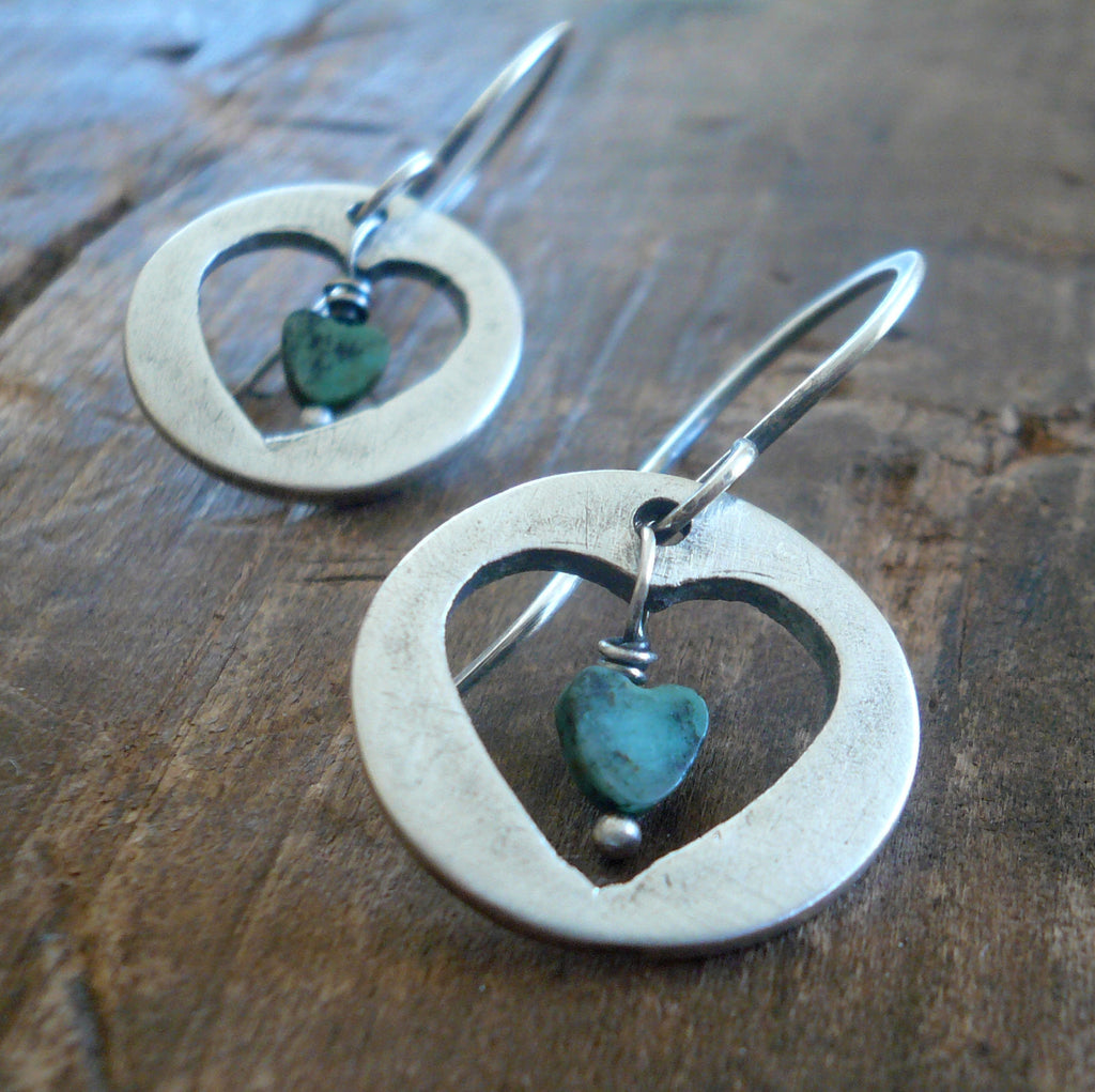LAST PAIR Anseta Earrings - Handmade. Turquoise. Oxidized Fine and sterling silver dangle ea