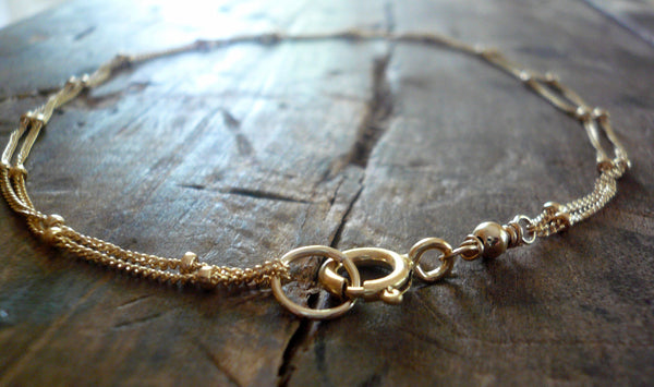 Anklet Design Your Own Series -  2 strand Sterling Silver or 14kt Goldfill Satellite Chain