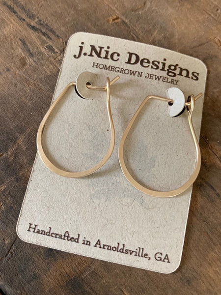Horseshoe Hoops in Gold - Handmade. hand forged. 14kt goldfill Earrings