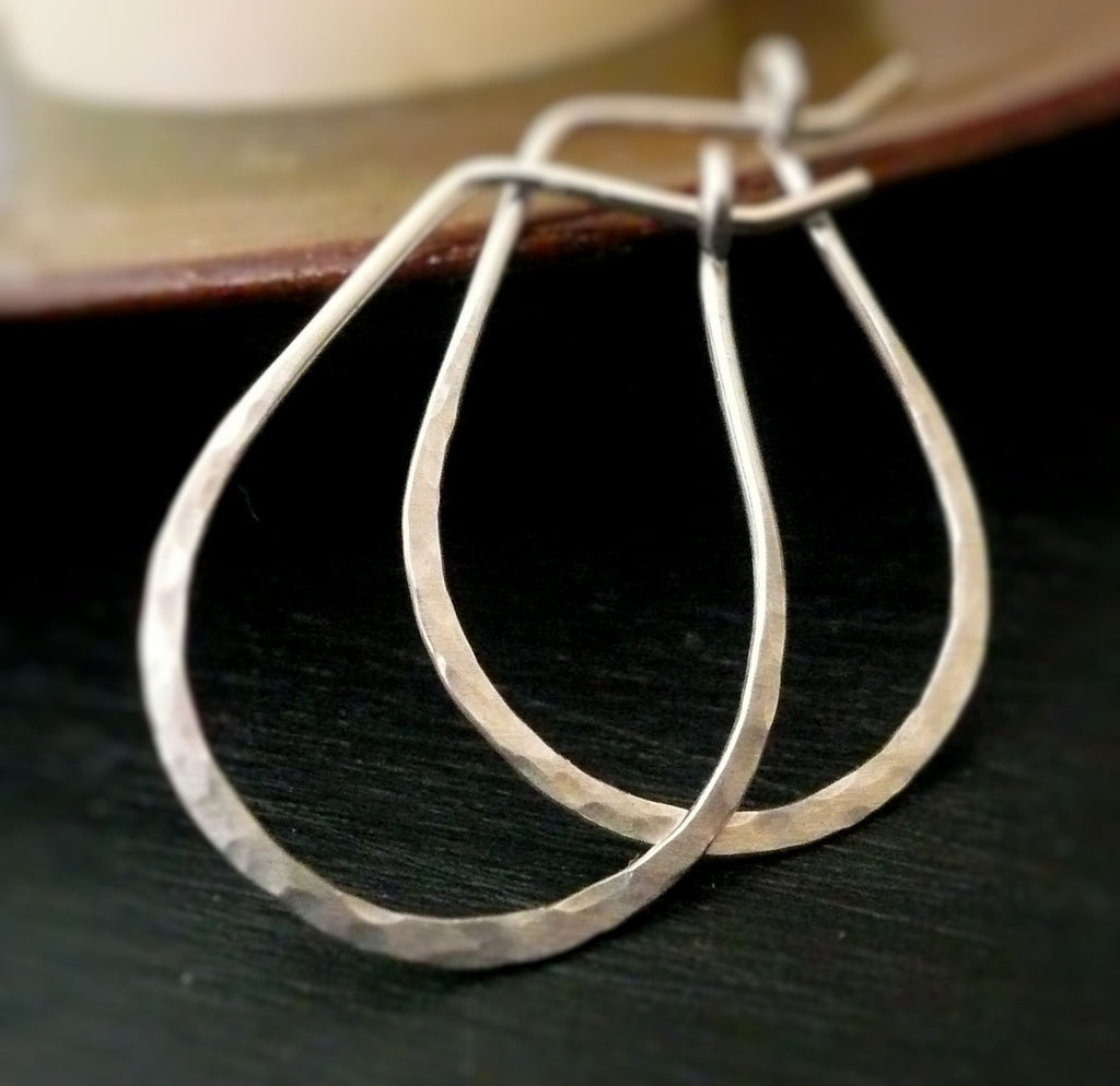 Hammered Horseshoe Hoops. Handmade. Sterling Silver