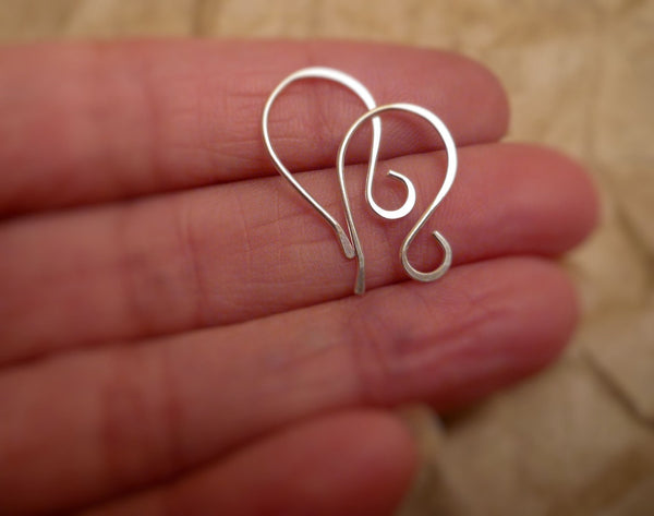 Sample Pack 4 pairs of my Sterling Silver Earwires - Handmade. Handforged. Shiny Finish. Made to Order