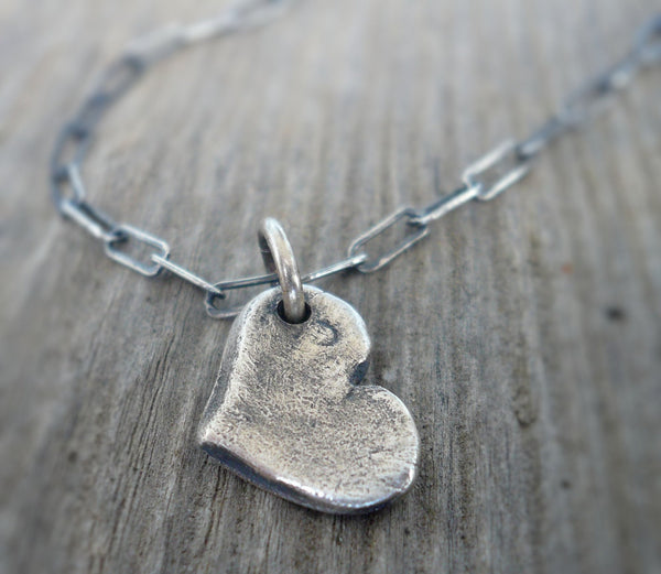 Heart on a String Necklace - Handmade. Oxidized Fine and Sterling Silver