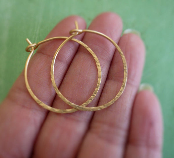 Mangly Hoops in Gold - Choice of 6 sizes. Handmade. Hammered. 14k goldfill hoops