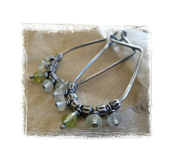 Petiole Earrings - Handmade. Peridot. Prehnite. Oxidized sterling silver Hoops