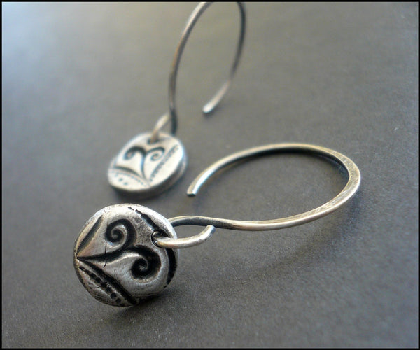 Petite Frond Earrings Flourish Collection. Handmade. Oxidized fine and sterling silver