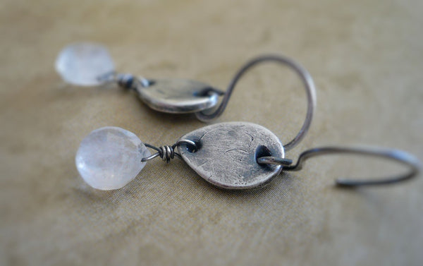 Moon Blush Earrings. Handmade. Moonstone. Oxidized fine and sterling silver
