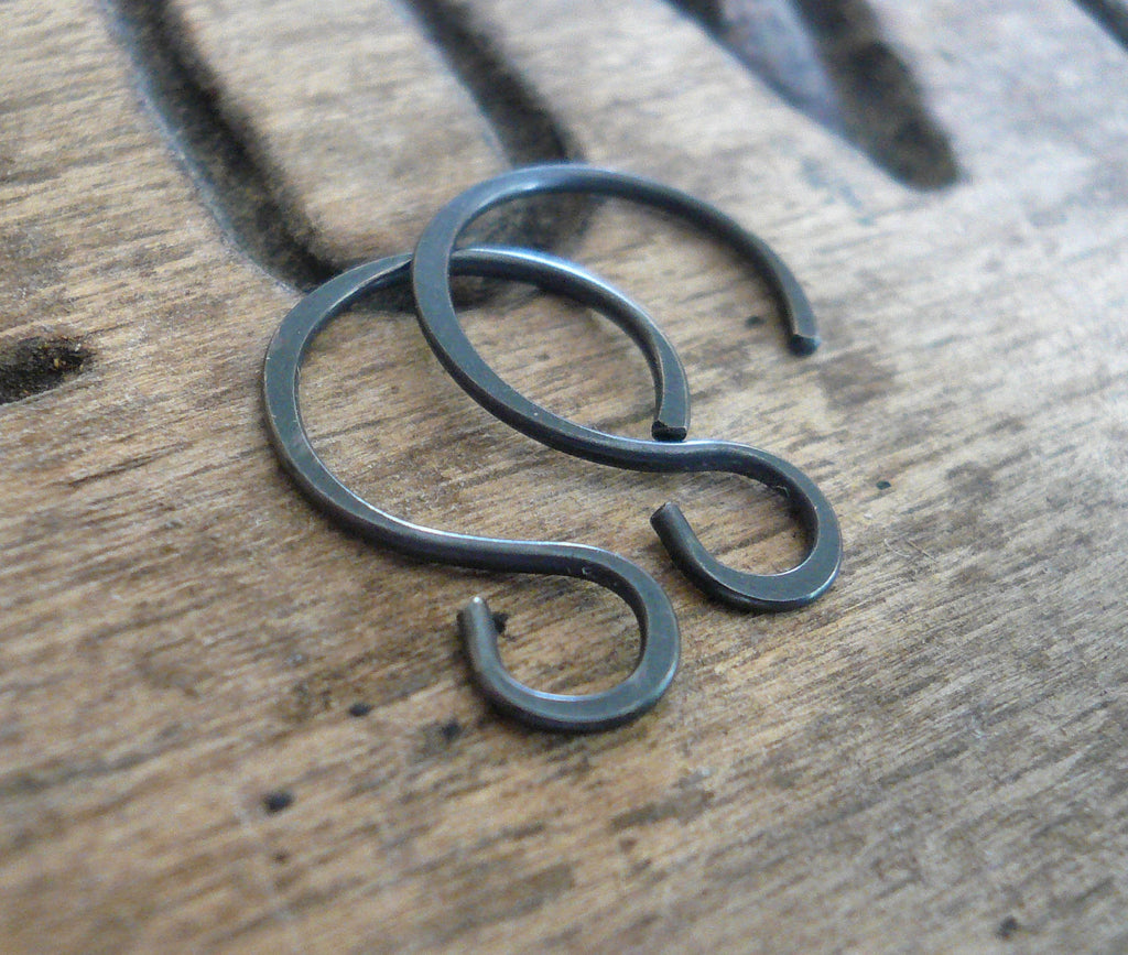 Solitude Sterling Silver Earwires - Handmade. Heavily Oxidized