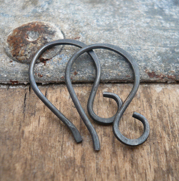Twinkle Sterling Silver Earwires - Handmade. Handforged. Heavily Oxidized