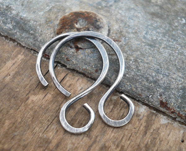 Solitude Sterling Silver Earwires - Handmade. Oxidized and Polished